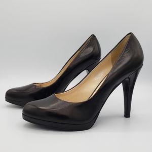 Nine west roacha black leather platform heels